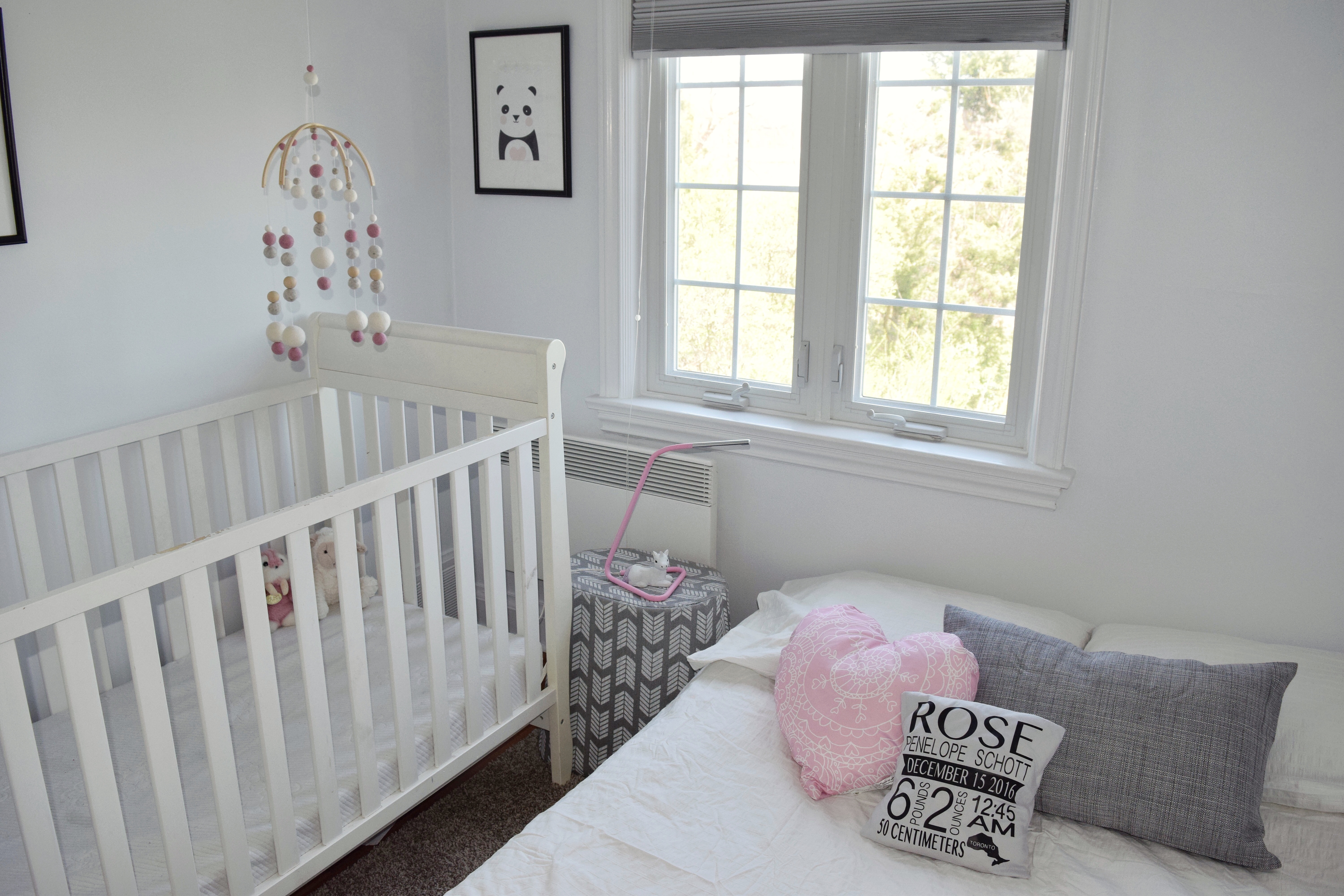 Baby Girl Nursery Crisp White Walls With Light Pink Grey